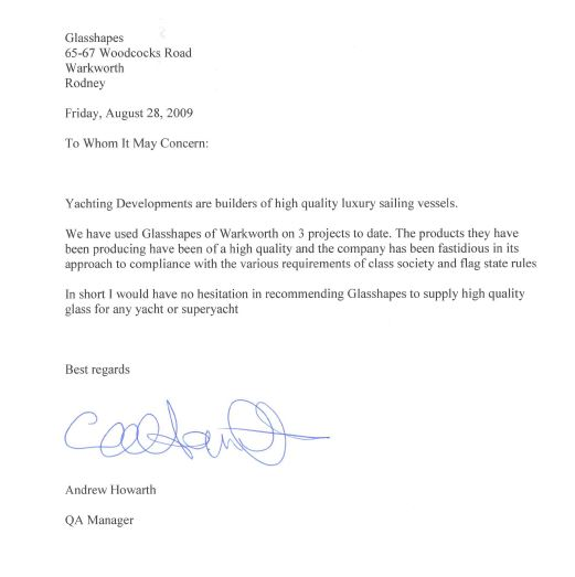 Yachting Developments Testimonial Letter